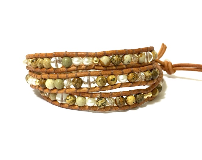 SALE Tan Jasper Mix Triple Wrap Bracelet