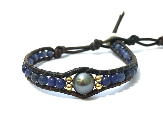 Sodalite + Tahitian Pearl Bracelet