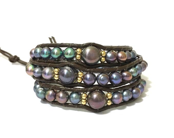 Freshwater Pearl Triple Wrap Bracelet