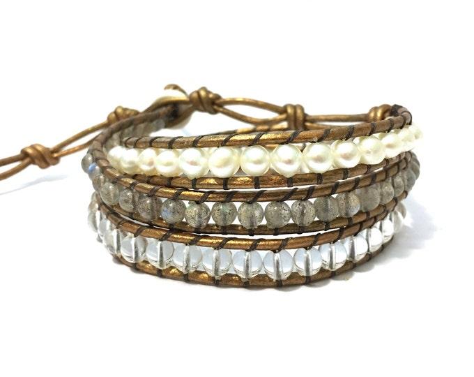 Labradorite, Quartz + White Pearl Triple Wrap Bracelet