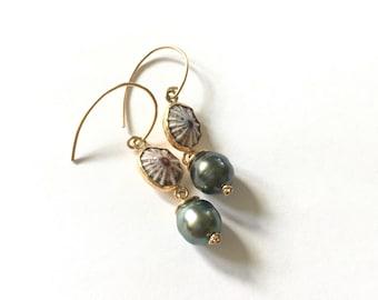 Opihi + Tahitian Pearl Earrings