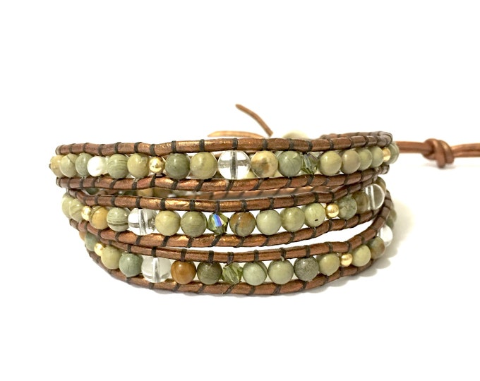 SALE Green Jasper Mix Triple Wrap Bracelet