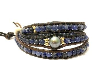 Sodalite + Tahitian Pearl Triple Wrap Bracelet