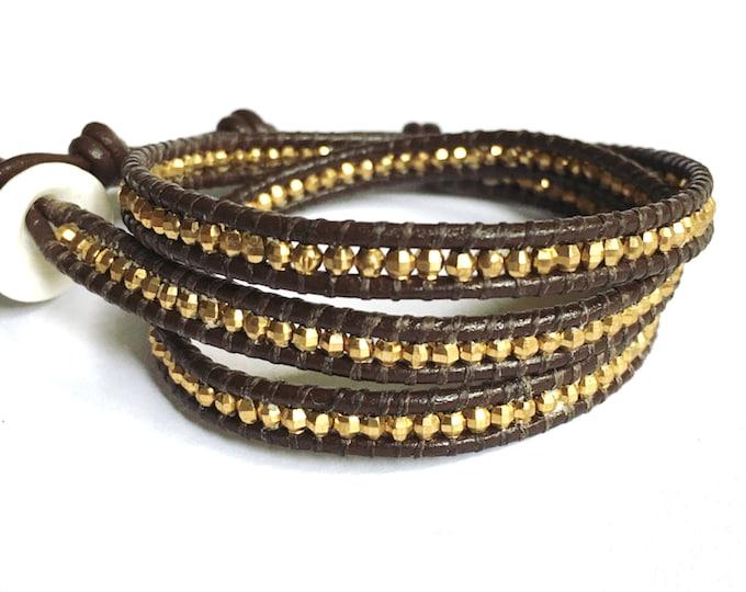 Brass Triple Wrap Bracelet