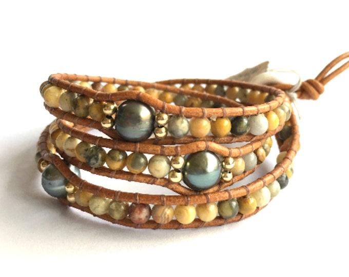 Agate + Pearl Triple Wrap Bracelet