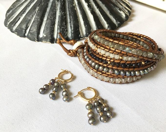 Freshwater Mix Wrap Bracelet + Hoop Set