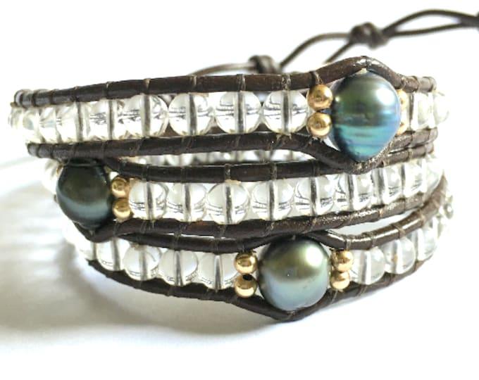 Quartz + Tahitian Pearl Triple Wrap Bracelet