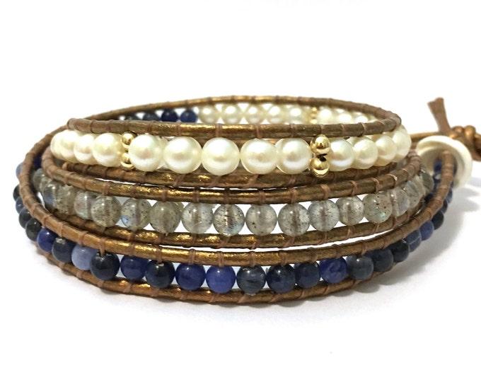 Sodalite, Labradorite + White Pearl Triple Wrap Bracelet