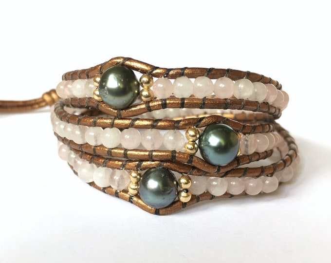 Rose Quartz + Tahitian Pearl Triple Wrap Bracelet