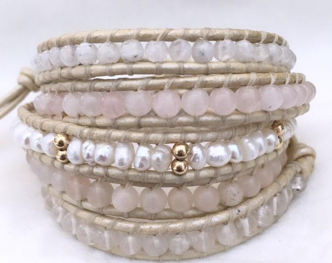 White Freshwater Pearl Mix Five Wrap Bracelet