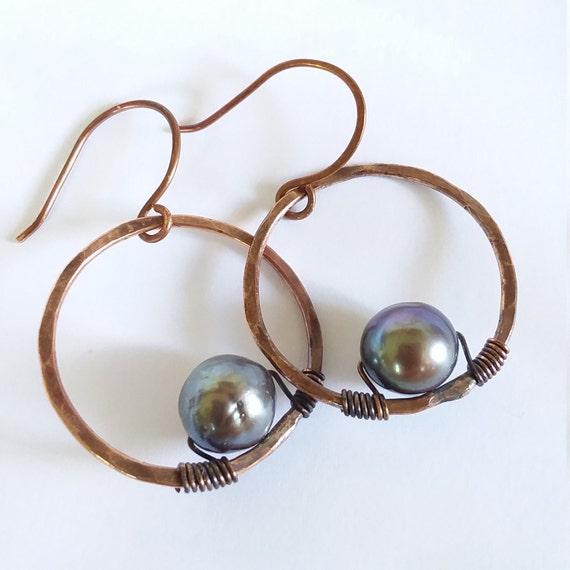 MAKA HOOPS: boho jewelry copper earrings pearls gift for her bohemian jewelry wedding gift bridesmaid gift birthday gift healing crystals