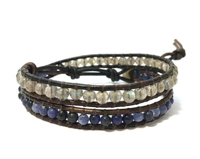 Labradorite + Sodalite Double Wrap Bracelet