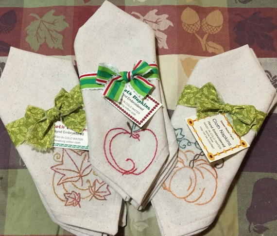 Pumpkin Thanksgiving Design Hand Embroidered Cloth Napkins Set of Two