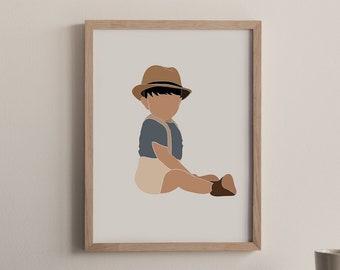 Boho Baby Boy Nursery Decor Digital Print, Suspenders Baby Portrait Digital, News Boy, Pediatric Office Wall Art, Playroom Print Neutral