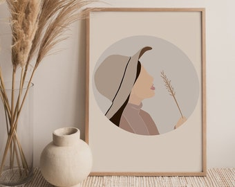Boho Woman Art Print, Printable Art For Above Bed For Teenage Girl, Fedora Hat, Nuetral Minimalist Print, Feminine Printable Wall Art