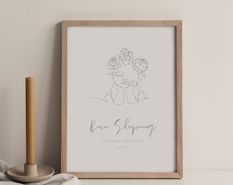 Miscarriage Gift, Baby Girl Loss Gift, Infant Loss Printable, Stillborn Memorial, Miscarriage Printable, Linear Art, Infant Loss gifts