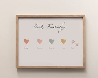 """Personalized """"Our Family' Names Digital Print,  Family Name Print, Pet Name, Printable Family Name, 11x14, 8x10"""