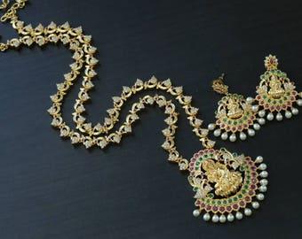 Temple Necklace, Lakshmi Necklace, Lakshmi Pendant, Indian wedding, Bollywood, Polki Necklace, Indian Bridal Jewelry
