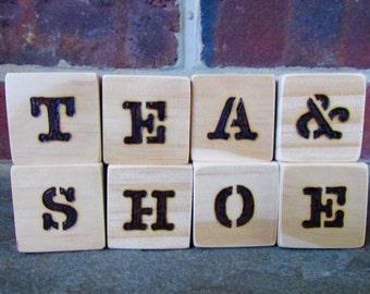 Custom Wooden Blocks - Wood Burned - Typewriter Font