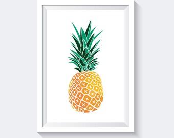 Pineapple Print, Tropical Print, Summer Print, Orange Print, Fruit Print, pineapple wall art, fruit wall decor, kitchen poster, digital art