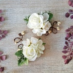 wedding hair clip, white bridal hair clip women, bridal headpiece, wedding hair accessories, bridesmaid hair clip, white bridal hair jewelry