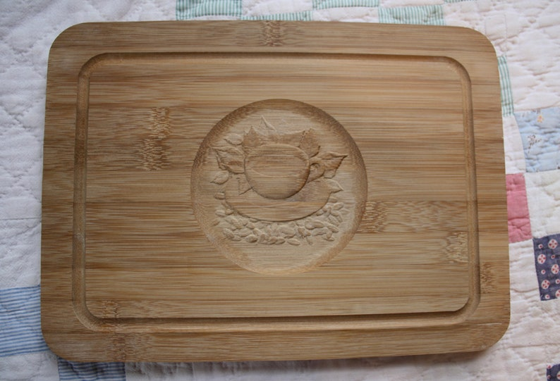Bamboo Carved Cutting Board Solid Wood kitchen coffee tea cup motif brand new neutral light hue Kitchen Decor
