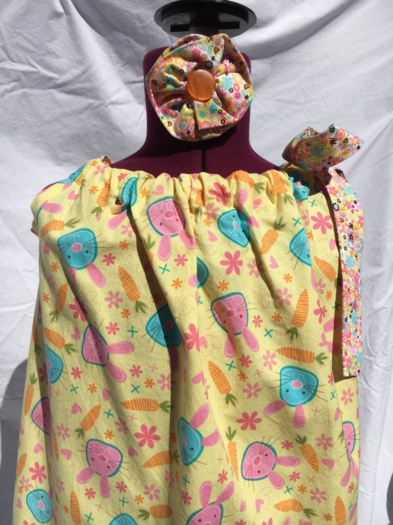 Pastel Easter Bunny Pillow Case Dress Size 5 with Matching Hair Bow