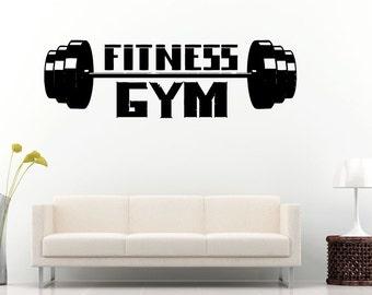 Gym Training Fitness Bodybuilding Wight Lifting Logo Emblem Sign Wall Decal Vinyl Sticker Mural Room Decor L604