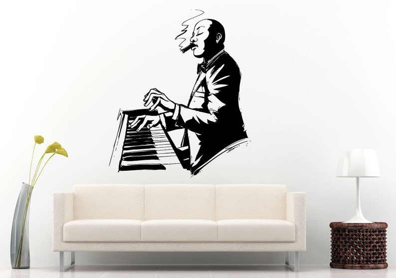 Jazz Blues Band People On Piano Hands Playing Smoking A Cigar Wall Decal Vinyl Sticker Mural Room Decor L1249