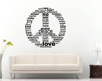 Peace Love Unity Faith Friendship Trust Symbol Logo Sign Wall Sticker Decal Vinyl Mural Decor Art L2239