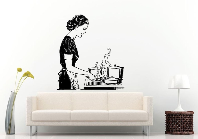 Woman Female Mother Lady Cooking With A Smile Kitchen Dining Wall Decal Vinyl Sticker Mural Room Decor L776