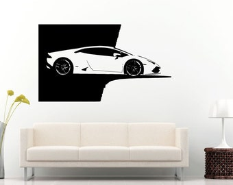 Car vehicle automobile engine motor parts blueprint wall decal car vehicle automobile supercar sports car garage right side wall decal vinyl sticker mural room decor l848 malvernweather Images