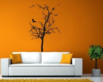 Tree Branch Bird Crow Room Wall Sticker Decal Vinyl Mural Decor Art L2439
