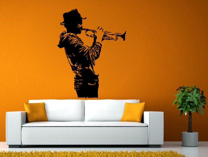 Hombre Tocando La Trompeta Instrumento Musical Musica Jazz Etsy