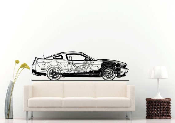 Sport racing american muscle car blueprint wall decal vinyl malvernweather Images