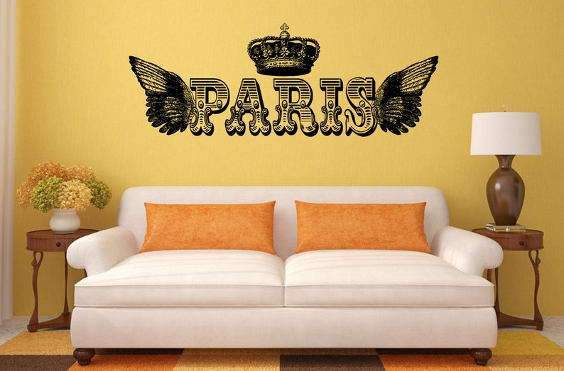 Paris Royal Crown Wings Interior Wall Decal Sticker Vinyl Mural Bedroom Leaving Room Home Decor FREE SHIPPING L219