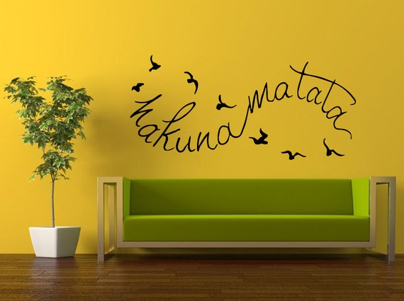 Wall Decal Vinyl Sticker Decals Interior Decor DIY Free Shipping Hakuna Matata It Means No Worries Quote Citation Words Cartoon Birds L515