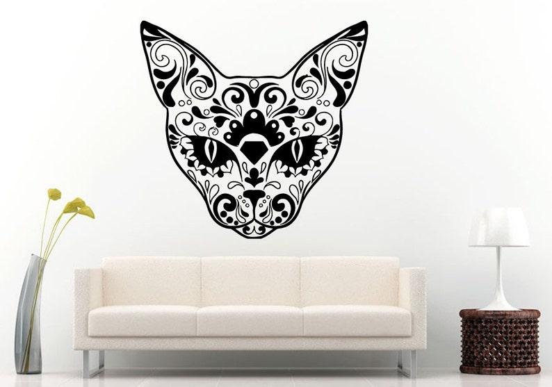 Sugar Skull Design Animal Cat Head Halloween Wall Decal Vinyl Sticker Mural Room Decor L1285