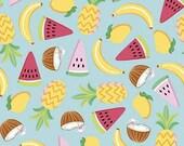 Rainbowfruit Let's Get Coconuts in Aqua by Amber Kemp-Gerstel for Riley Blake Designs