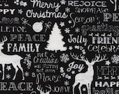 Christmas Words in Black by Timeless Treasures