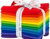 Fat Quarter Kona Cotton Bright Rainbow Palette by Robert Kaufman