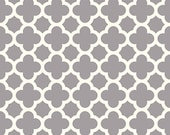 CLEARANCE HOME DECOR Gray and Creamy White Quatrefoil by Riley Blake Designs