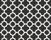 CLEARANCE HOME DECOR Black and Creamy White Quatrefoil by Riley Blake Designs