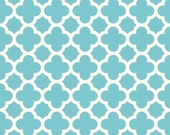 CLEARANCE HOME DECOR Aqua and Creamy White Quatrefoil by Riley Blake Designs