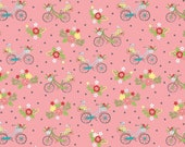 Vintage Adventure Bicycle Pink by Beverly McCullough for Riley Blake Designs
