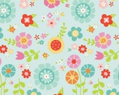 FLANNEL Bloom Where You Are Planted Main Aqua by Lori Whitlock for Riley Blake Designs