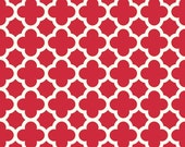 CLEARANCE HOME DECOR Red and Creamy White Quatrefoil by Riley Blake Designs
