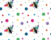 Create Hexie Bees in White by Quiet Play for Riley Blake Designs