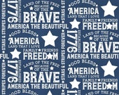 Let Freedom Soar Text in Blue by Tara Reed for Riley Blake Designs