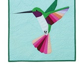 Tiny Jewel Paper Pieced Hummingbird Mini Quilt Pattern by Flying Parrot Quilts